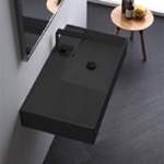 Bathroom Sink, Scarabeo 5118-49, Matte Black Ceramic Wall Mounted or Vessel Sink With Counter Space