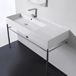Bathroom Sink, Scarabeo 5119-CON, Rectangular Ceramic Console Sink and Polished Chrome Stand