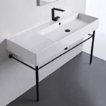 Bathroom Sink, Scarabeo 5120-CON-BLK, Ceramic Console Sink and Matte Black Stand