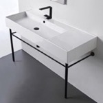 Bathroom Sink, Scarabeo 5121-CON-BLK, Ceramic Console Sink and Matte Black Stand