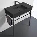 Bathroom Sink, Scarabeo 5123-49-CON-BLK, Matte Black Ceramic Console Sink and Matte Black Stand