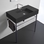 Bathroom Sink, Scarabeo 5123-49-CON, Matte Black Ceramic Console Sink and Polished Chrome Stand