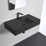 Bathroom Sink, Scarabeo 5123-49, Matte Black Ceramic Wall Mounted or Vessel Sink With Counter Space