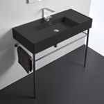Bathroom Sink, Scarabeo 5124-49-CON, Matte Black Ceramic Console Sink and Polished Chrome Stand