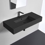 Bathroom Sink, Scarabeo 5124-49, Matte Black Ceramic Wall Mounted or Vessel Sink With Counter Space