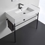 Bathroom Sink, Scarabeo 5124-CON-BLK, Ceramic Console Sink and Matte Black Stand