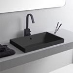 Bathroom Sink, Scarabeo 5131-49, Rectangular Matte Black Ceramic Drop In Sink