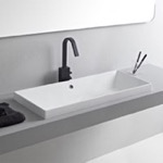Bathroom Sink, Scarabeo 5132, Rectangular White Ceramic Drop In Sink