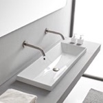 Bathroom Sink, Scarabeo 5133, Rectangular White Ceramic Trough Drop In Sink