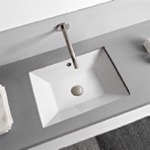 Bathroom Sink, Scarabeo 5134, Rectangular White Ceramic Undermount Sink