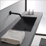 Bathroom Sink, Scarabeo 5135-49, Rectangular Matte Black Ceramic Undermount Sink