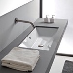 Bathroom Sink, Scarabeo 5135, Rectangular White Ceramic Undermount Sink