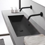 Bathroom Sink, Scarabeo 5136-49, Rectangular Matte Black Ceramic Trough Undermount Sink