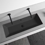 Bathroom Sink, Scarabeo 5137-49, Rectangular Matte Black Ceramic Trough Undermount Sink