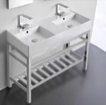 Bathroom Sink, Scarabeo 5142-CON2, Double Ceramic Wall Mounted Sink With Polished Chrome Stand