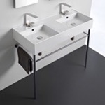 Bathroom Sink, Scarabeo 5142-CON, Double Ceramic Wall Mounted Sink With Polished Chrome Stand