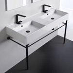 Bathroom Sink, Scarabeo 5143-CON-BLK, Double Ceramic Console Sink With Matte Black Stand