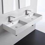 Bathroom Sink, Scarabeo 5143, Double Rectangular Ceramic Wall Mounted or Vessel Sink With Counter Space