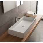 Bathroom Sink, Scarabeo 8031/80, Rectangular White Ceramic Vessel Sink