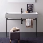 Bathroom Sink, Scarabeo 8031/R-120A-CON-BLK, Large Ceramic Console Sink and Matte Black Stand