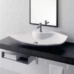 Bathroom Sink, Scarabeo 8053/R, Oval-Shaped White Ceramic Vessel Sink