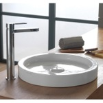 17 Inch Round White Ceramic Vessel Sink