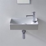 Bathroom Sink, Scarabeo 1501, Small Ceramic Wall Mounted or Vessel Sink