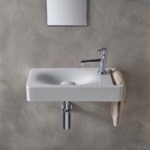 Bathroom Sink, Scarabeo 1511, Rectangular White Ceramic Wall Mounted Sink With Towel Holder