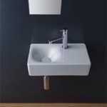 Bathroom Sink, Scarabeo 1523, Rectangular Ceramic Wall Mounted or Vessel Sink With Counter Space