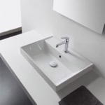 Bathroom Sink, Scarabeo 5109, Rectangular White Ceramic Drop In Sink