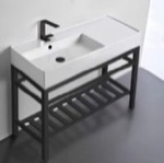 Bathroom Sink, Scarabeo 5119-CON2-BLK, Modern Ceramic Console Sink With Counter Space and Matte Black Base