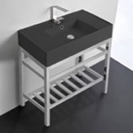 Bathroom Sink, Scarabeo 5123-49-CON2, Modern Matte Black Ceramic Console Sink and Polished Chrome Base