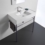 Bathroom Sink, Scarabeo 5123-CON, Rectangular Ceramic Console Sink and Polished Chrome Stand