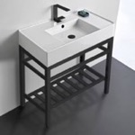 Bathroom Sink, Scarabeo 5123-CON2-BLK, Modern Ceramic Console Sink With Counter Space and Matte Black Base