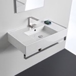 Bathroom Sink, Scarabeo 5123-TB, Rectangular Ceramic Wall Mounted Sink With Counter Space, Includes Towel Bar