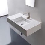 Bathroom Sink, Scarabeo 5123, Rectangular Ceramic Wall Mounted or Vessel Sink With Counter Space