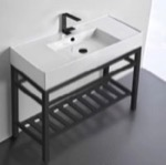 Bathroom Sink, Scarabeo 5124-CON2-BLK, Modern Ceramic Console Sink With Counter Space and Matte Black Base
