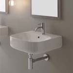 Bathroom Sink, Scarabeo 5507, Round White Ceramic Wall Mounted Sink