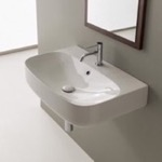 Bathroom Sink, Scarabeo 5508, Round White Ceramic Wall Mounted Sink