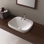 Bathroom Sink, Scarabeo 5511, Round White Ceramic Drop In Sink