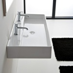 Bathroom Sink, Scarabeo 8031/R-120B, Rectangular White Ceramic Wall Mounted or Vessel Sink