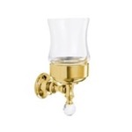 Gold Finish Wall Mounted Clear Glass Toothbrush Holder with Crystal