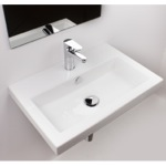 Bathroom Sink, Tecla 4001011, Rectangular White Ceramic Self Rimming or Wall Mounted Bathroom Sink