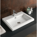 Bathroom Sink, Tecla CAN01011, Rectangular White Ceramic Drop In or Wall Mounted Sink