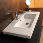 Bathroom Sink, Tecla CAN03011, Rectangular White Ceramic Wall Mounted or Drop In Sink