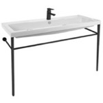 Bathroom Sink, Tecla CAN05011A-CON-BLK, Large Ceramic Console Sink and Matte Black Stand