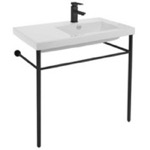 Bathroom Sink, Tecla CO01011-CON-BLK, Ceramic Console Sink and Matte Black Stand