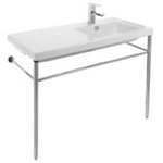 Bathroom Sink, Tecla CO02011-CON, Rectangular Ceramic Console Sink and Polished Chrome Stand