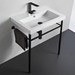 Bathroom Sink, Tecla CAN01011-CON-BLK, Ceramic Console Sink and Matte Black Stand
