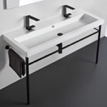 Bathroom Sink, Tecla CAN05011B-CON-BLK, Double Ceramic Console Sink and Matte Black Stand